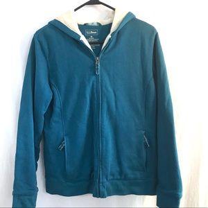 LLBean Heavy Fleece Lined Full Zip Hoodie Size M
